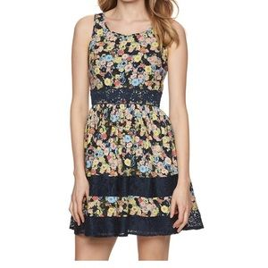 LC Lace Trim Floral Sleeveless A-Line Dress